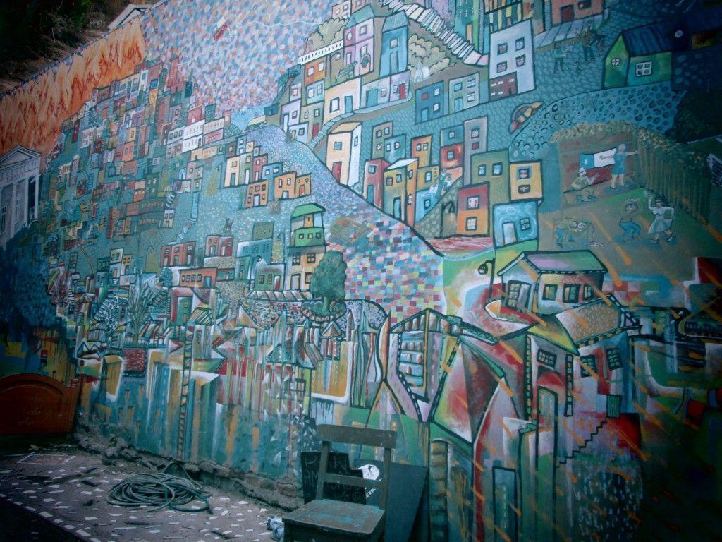 las colinas de Valparaíso en graffiti