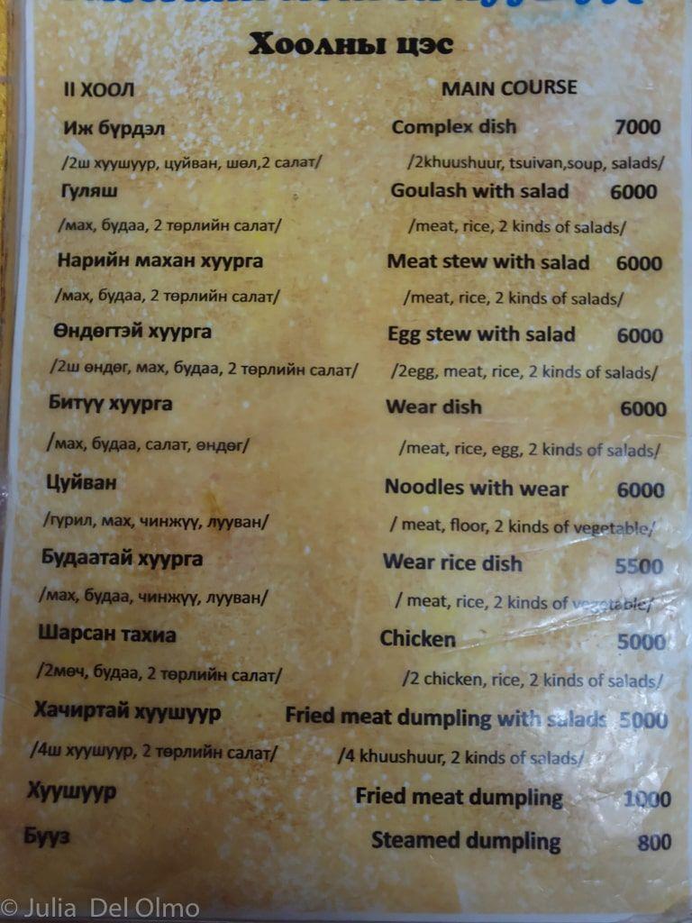 Menú restaurante Mongolia