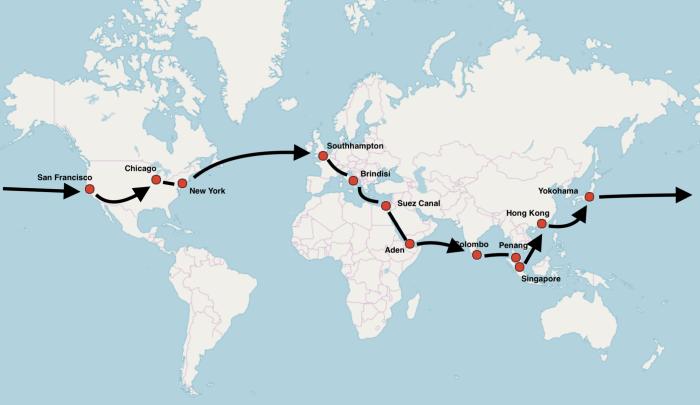Mapa de la vuelta al mundo de Nellie Bly